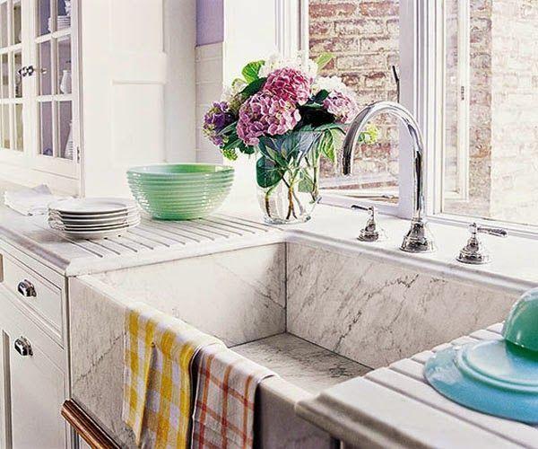 6 cocina con fregadero marmol blanco bajo ventana cocina - Modelos de fregaderos ...
