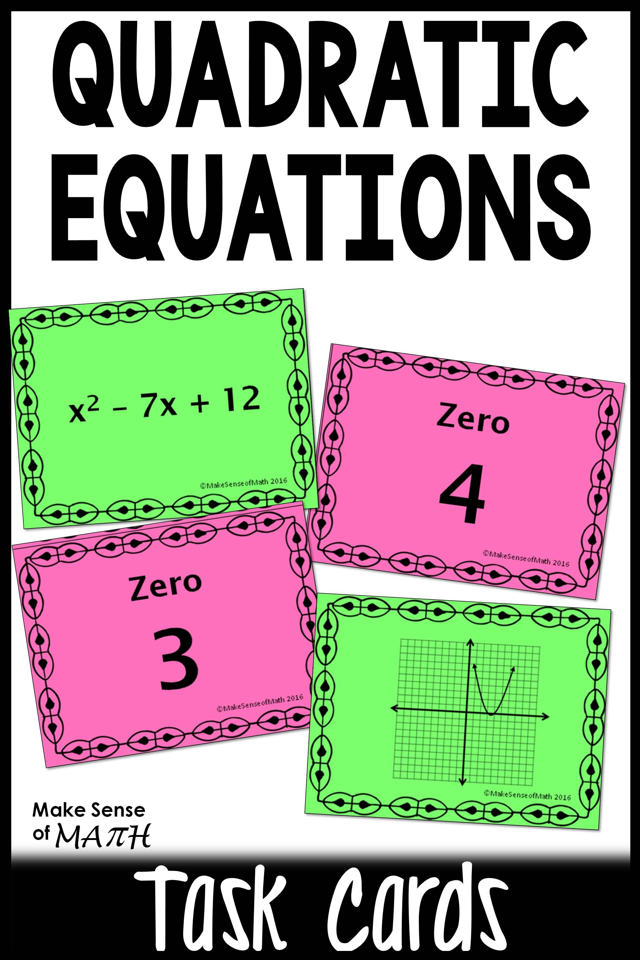 Zeros Of Quadratic Equations Amp Functions Task Cards