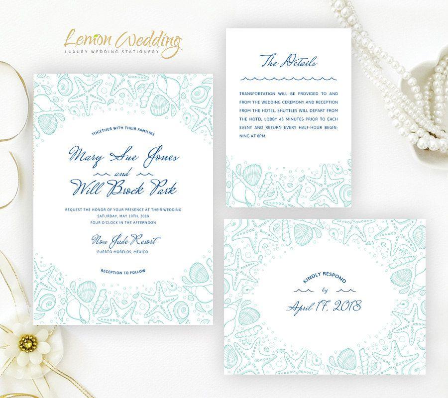 Destination wedding invitation kits printed on shimmer cardstock