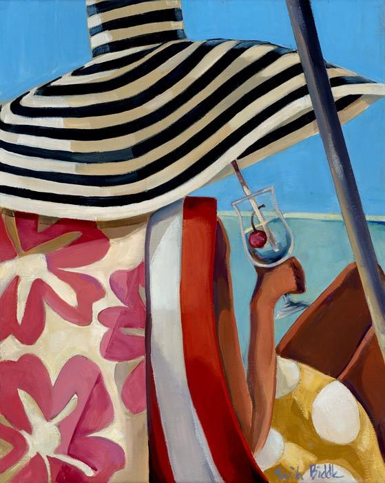Trish Biddle  'Summer Girl 2'  enjoying a cocktail on the beach art