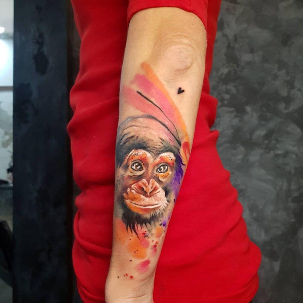 Simona Blanar Watercolor Monkey Tattoo Monkey Tattoos Tattoos Watercolor Tattoo