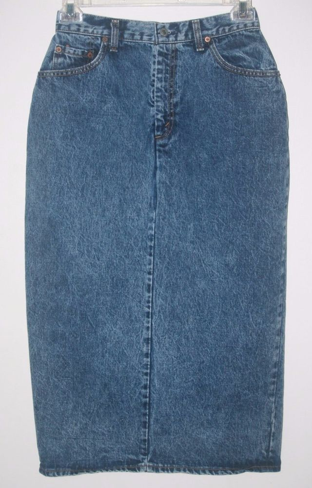 Vintage 80's Levi's Long Denim Jean Skirt Size 13 Modest Back Split Made in USA #Levis #LevisSkirt #Fashion #VintageLevis