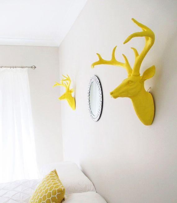 Deer Head, Faux Deer Head, Faux Taxidermy, Deer Decor, Yellow Deer Head, Faux Stag Head, Deer Head Made in Australia, Faux Stag Head, on Etsy, $95.00