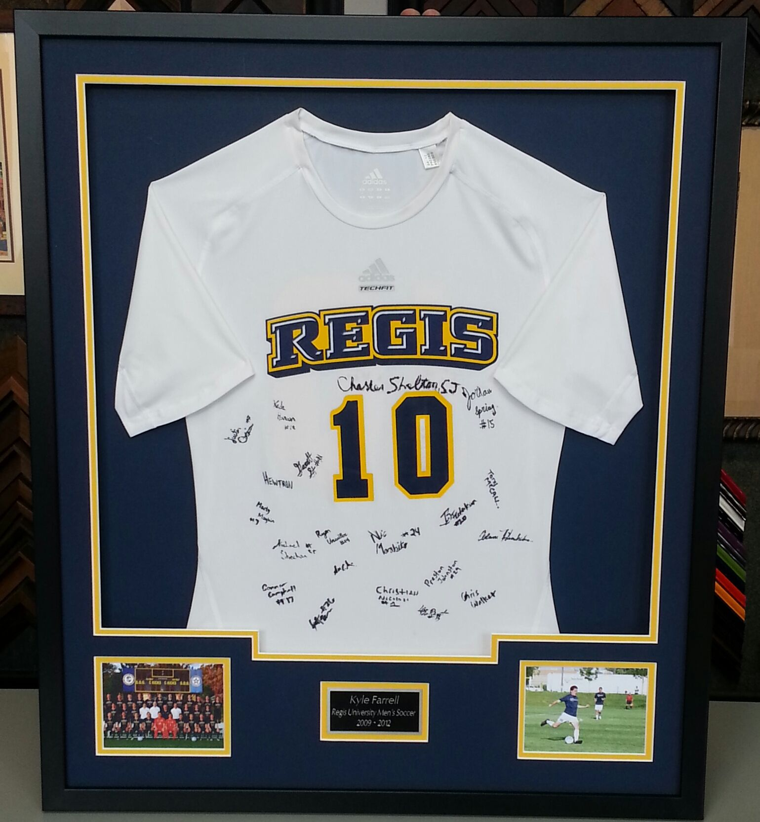 custom framed regis university soccer jersey custom framed by fastframe of lodo