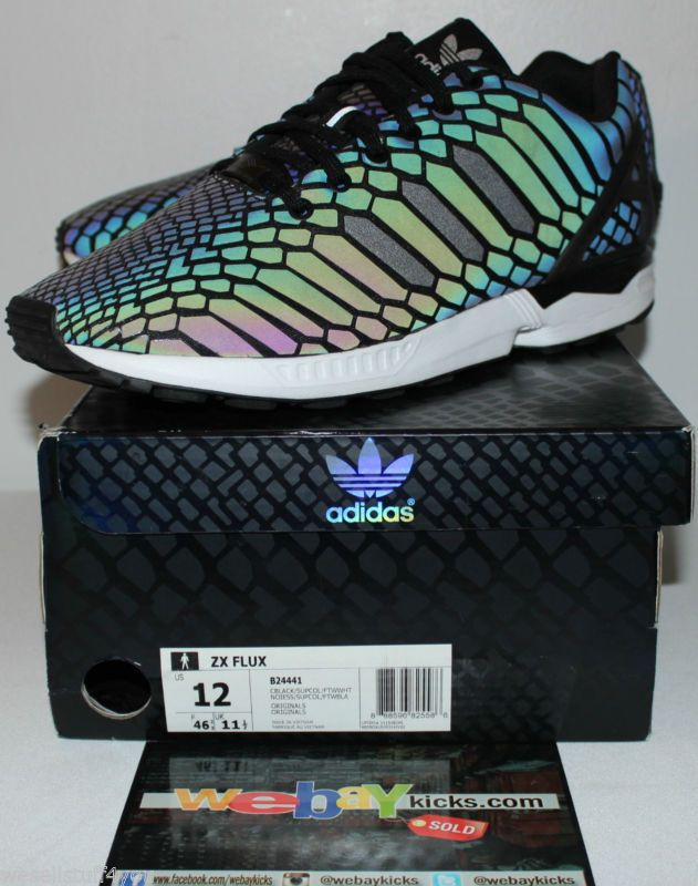 9d46f90deb8e Adidas ZX Flux 3M Reflective Snake Black Multi Color Sneakers Men s Size 12  Used  sneakers  mens  size  used  color  multi  flux  reflective  snake   black   ...
