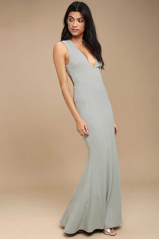 541bb8b64c You ll be a divine display in the Heaven and Earth Grey Maxi Dress!  Medium-weight stretch knit forms a sleeveless bodice