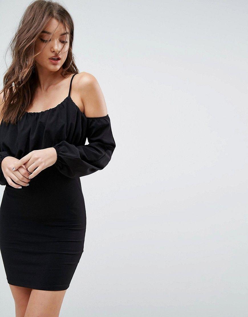 66ca8d3390ab90 ASOS Balloon Sleeve Square Neck Mini Dress - Black