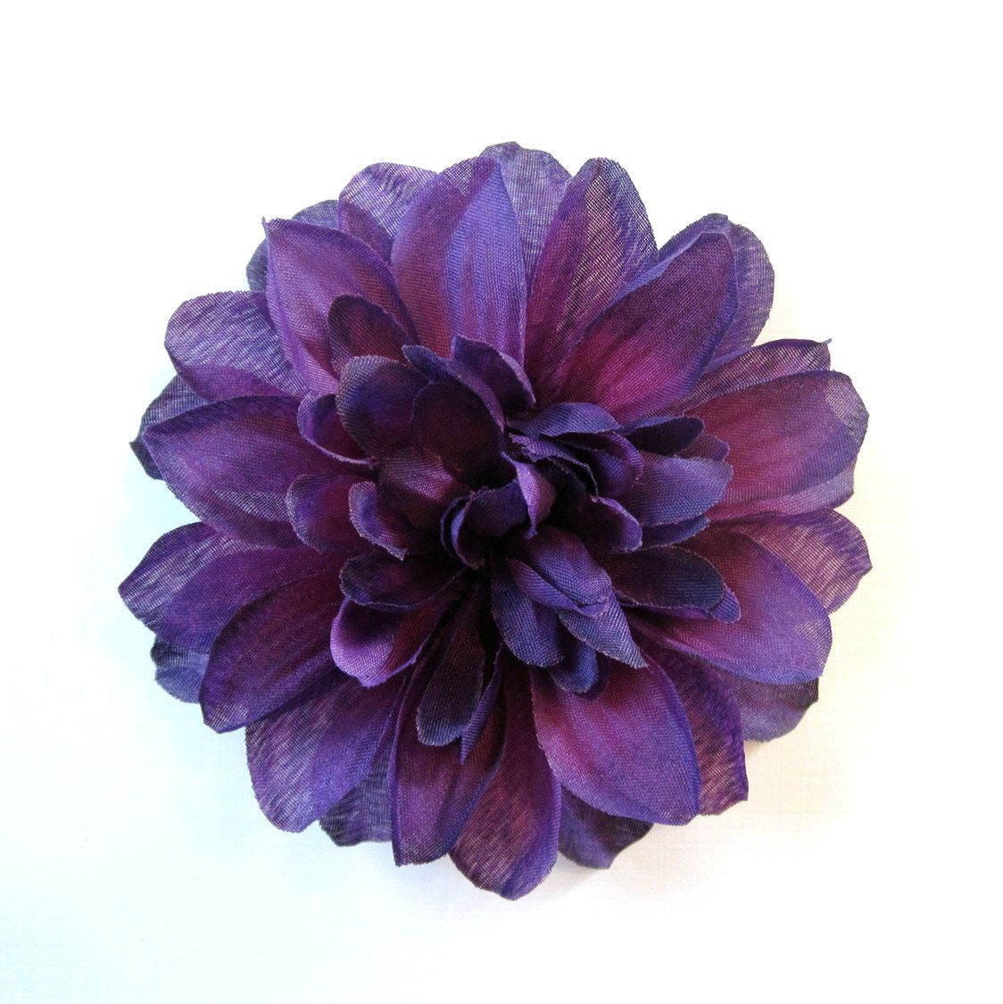 Dark Purple Dahlia Eggplant Fabric Flower Hair Clip Or