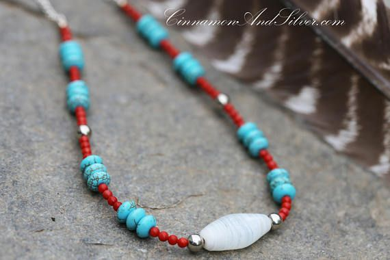 Turquoise Blue and Red Coral Country Western Necklace