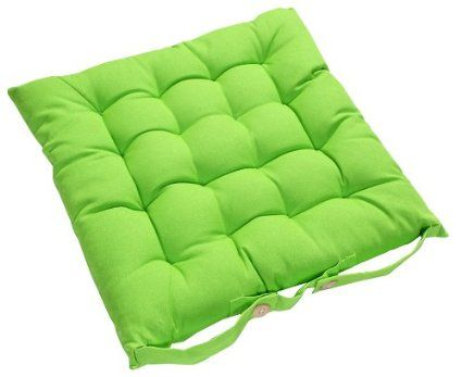 lime green chair pads two seat lawn chairs homescapes pad 40 x cm indoor garden dining cushion with a button tie handle to fix 100