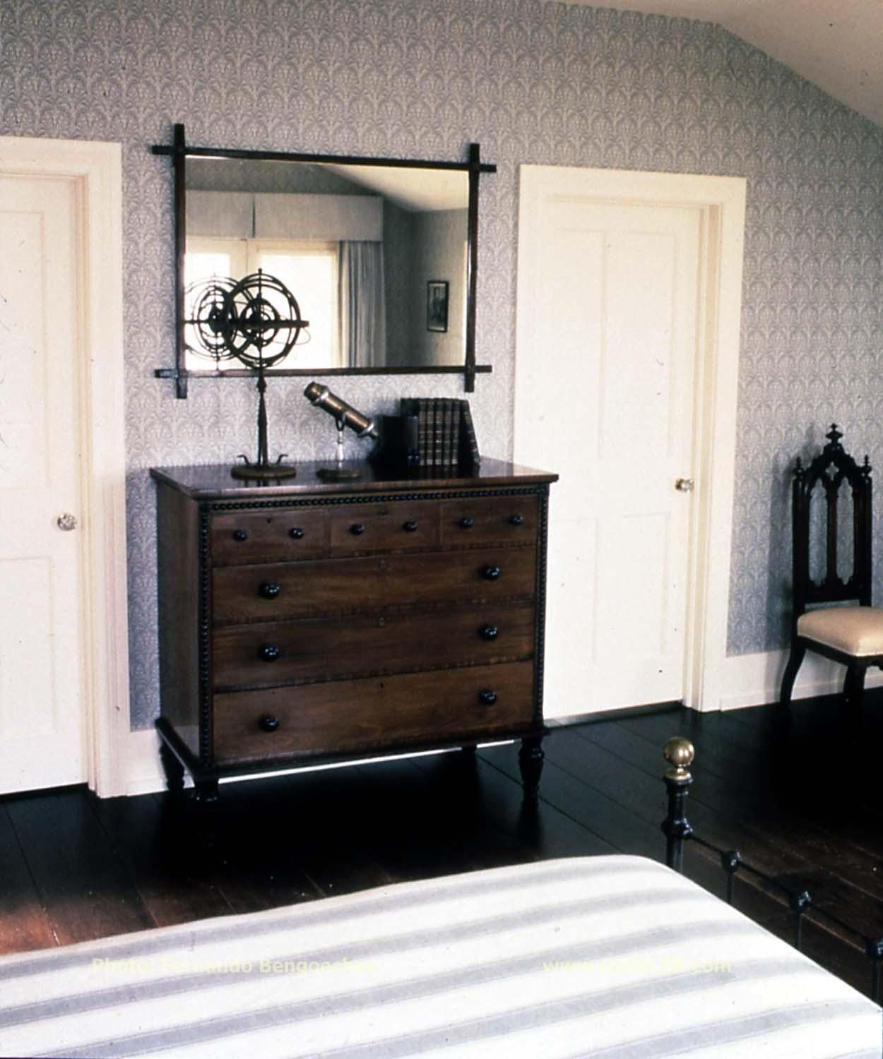 Antique furniture with quietly strong silhouettes in the Guest Room of a  home overlooking Mecox bay. Long IslandAntique ... - Antique Furniture With Quietly Strong Silhouettes In The Guest Room