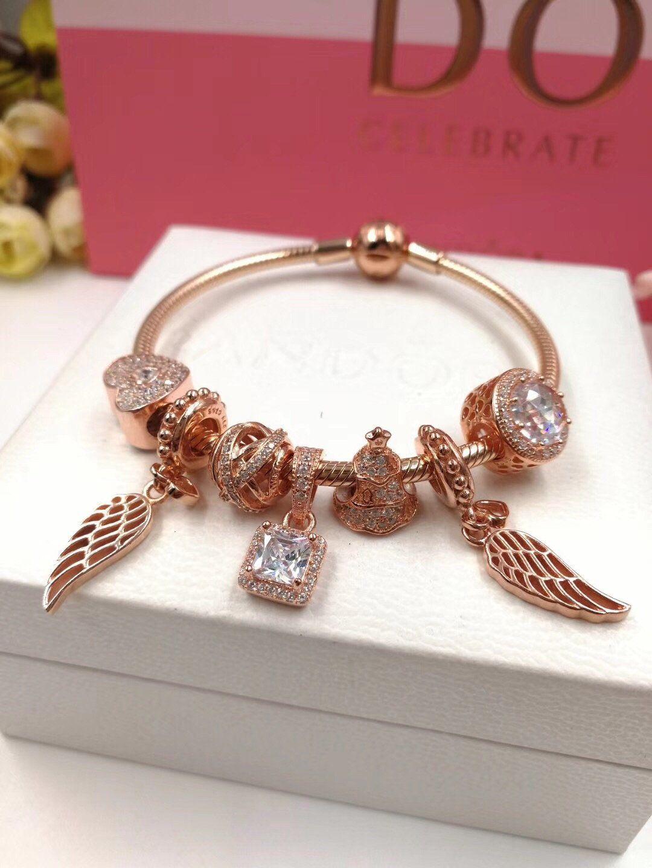 48df52404 Pandora angle wing rose gold charm bracelet angel wing pendant ...