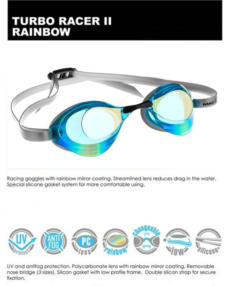 39ba0a323400 MadWave Swimming Goggles - Turbo Racer 2 II Rainbow Racing Competition  Training