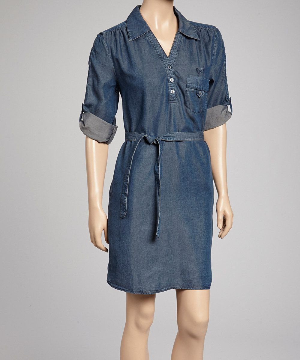 8d808a1963eb Look what I found on  zulily! Dark Wash Audrey Denim Shirt Dress by Velvet  Heart  zulilyfinds
