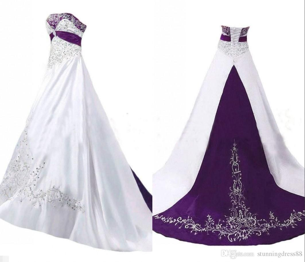 Discountunique Purple And White Embroidery A Line Wedding Dresses Strapless Corset Back Satin Sequins Beaded Bridal Wedding Gowns Cheap Custom Made From Stunnin A Line Wedding Dress Satin Wedding Gown Rustic Wedding [ 914 x 1063 Pixel ]