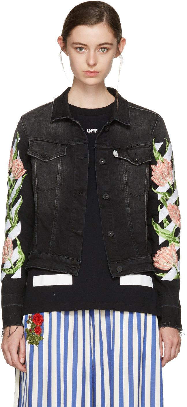 OFF-WHITE Black Denim Diagonal Tulips Slim Jacket.  off-white  cloth  jacket c4f155ea5f