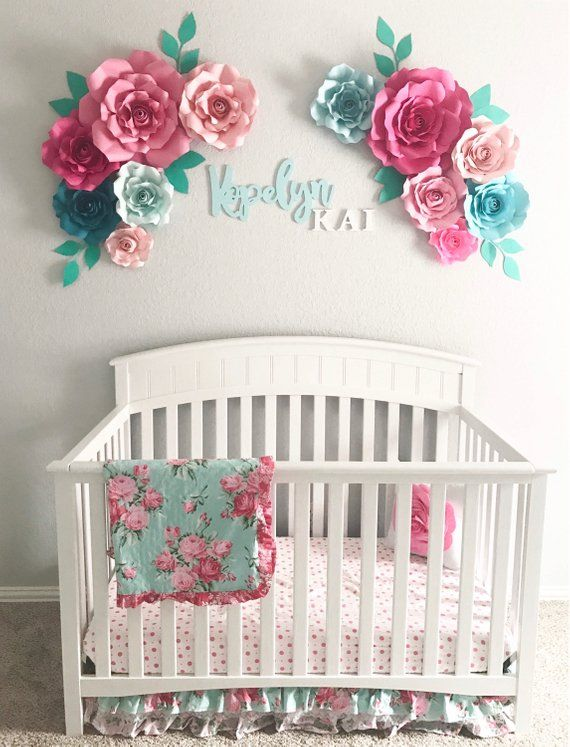 Baby Girl Nursery Wall Decor Ideas Paper wall flower arrangement - floral nursery - large paper flowers -  floral nursery wall decor - flowers for nursery - 3D wall flowers