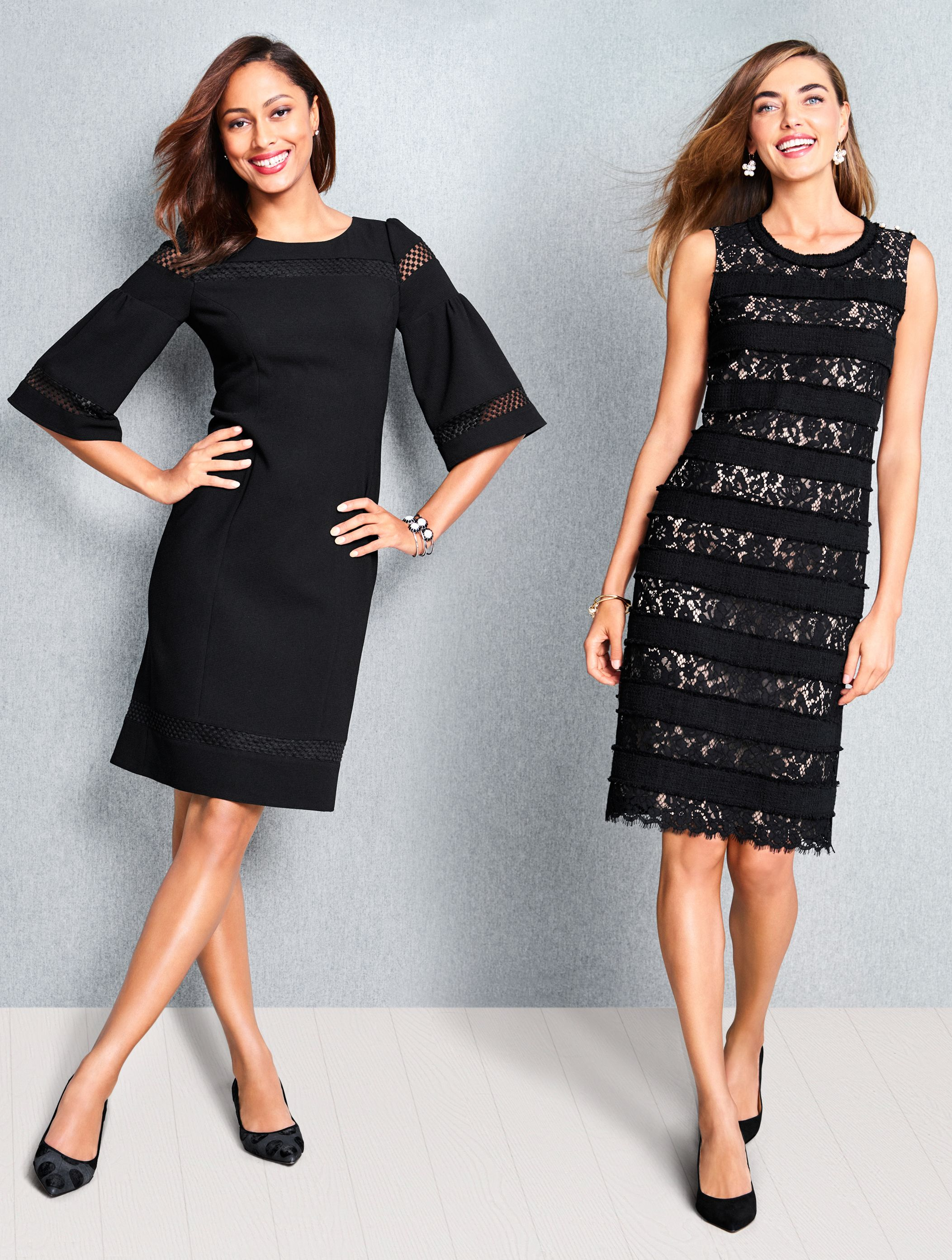Beautifully Laced With Style The Ultra Feminine Little Black Dress Is Timeless Classic And Perfect For Almost Any Occa Talbots Dress Dresses Cocktail Attire [ 2785 x 2105 Pixel ]