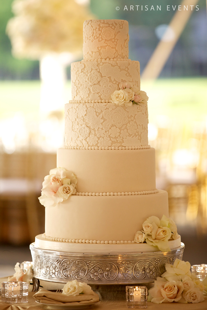 Amy Beck Cake Design - Chicago, IL - 5 tier lace inspired wedding ...