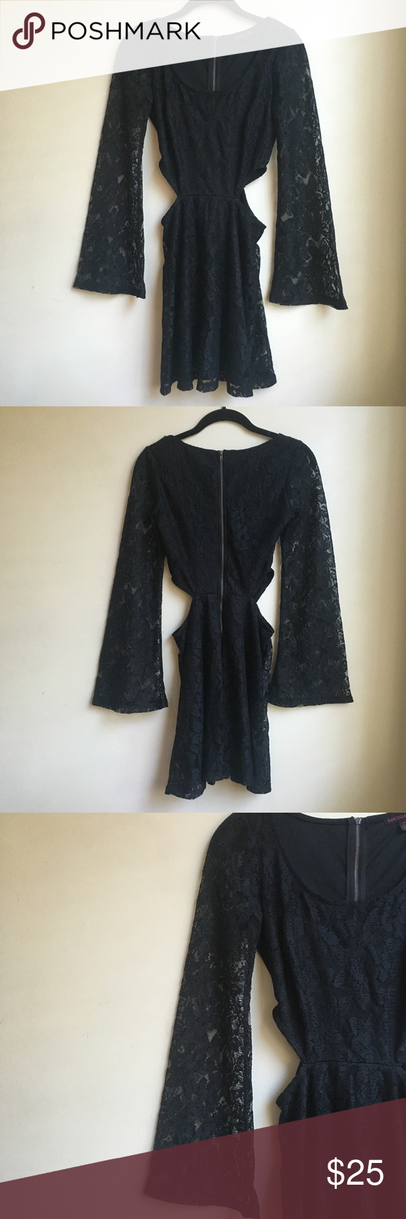 New material girl bell sleeve cutout black dress material girls