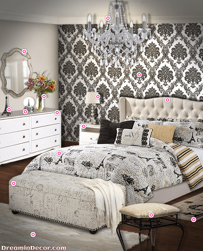 Large Patterned Black And White Wallpaper, White And Tan Furniture, And  Printed Duvet. Paris Themed BedroomsParis ...