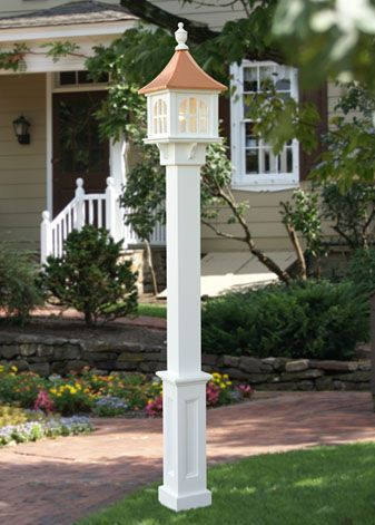 Lamp post mailbox idea with a solar light and a flower planter on the back go outside for Solar exterior post lantern light