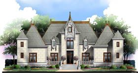 Elevation of European   Greek Revival   House Plan 72212