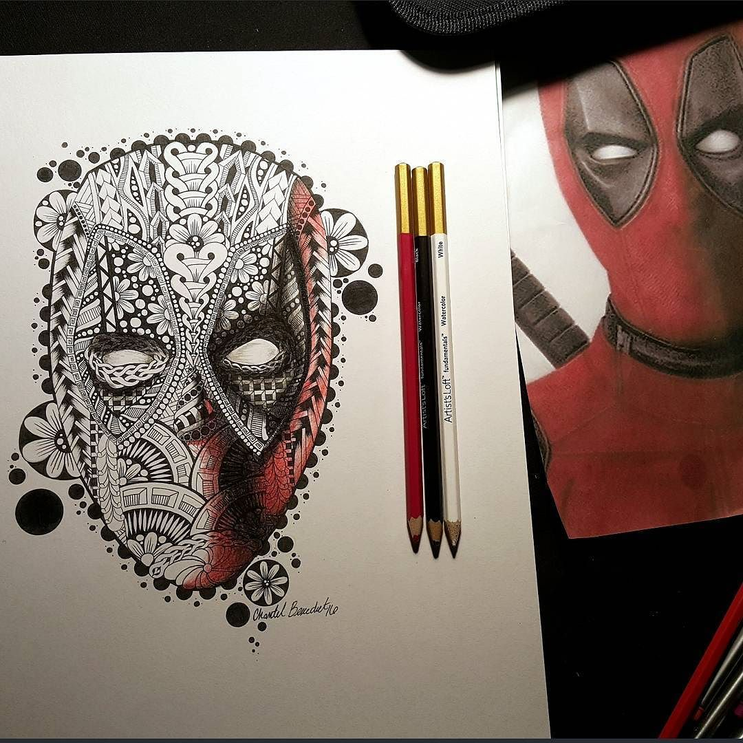 Working with some colored pencils! #deadpool #deadpoolart #badass #mercinary…