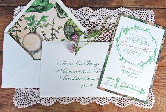 Farm to Table invitation / rehearsal dinner / Custom Invitations & event branding by Tenn Hens Design