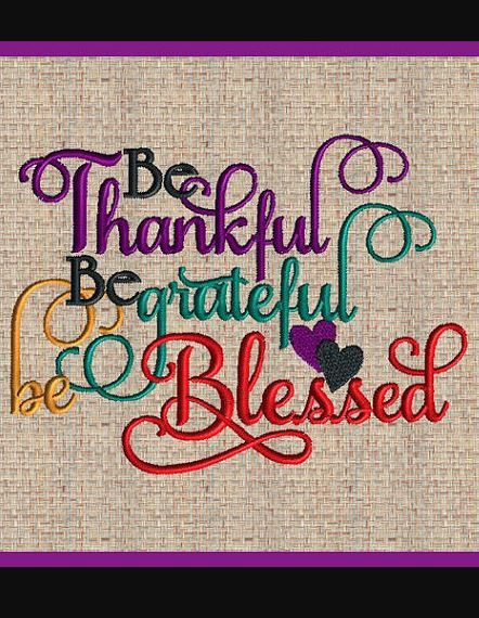 Be Thankful Fall Thanksgiving Embroidery Design Be Thankful Be