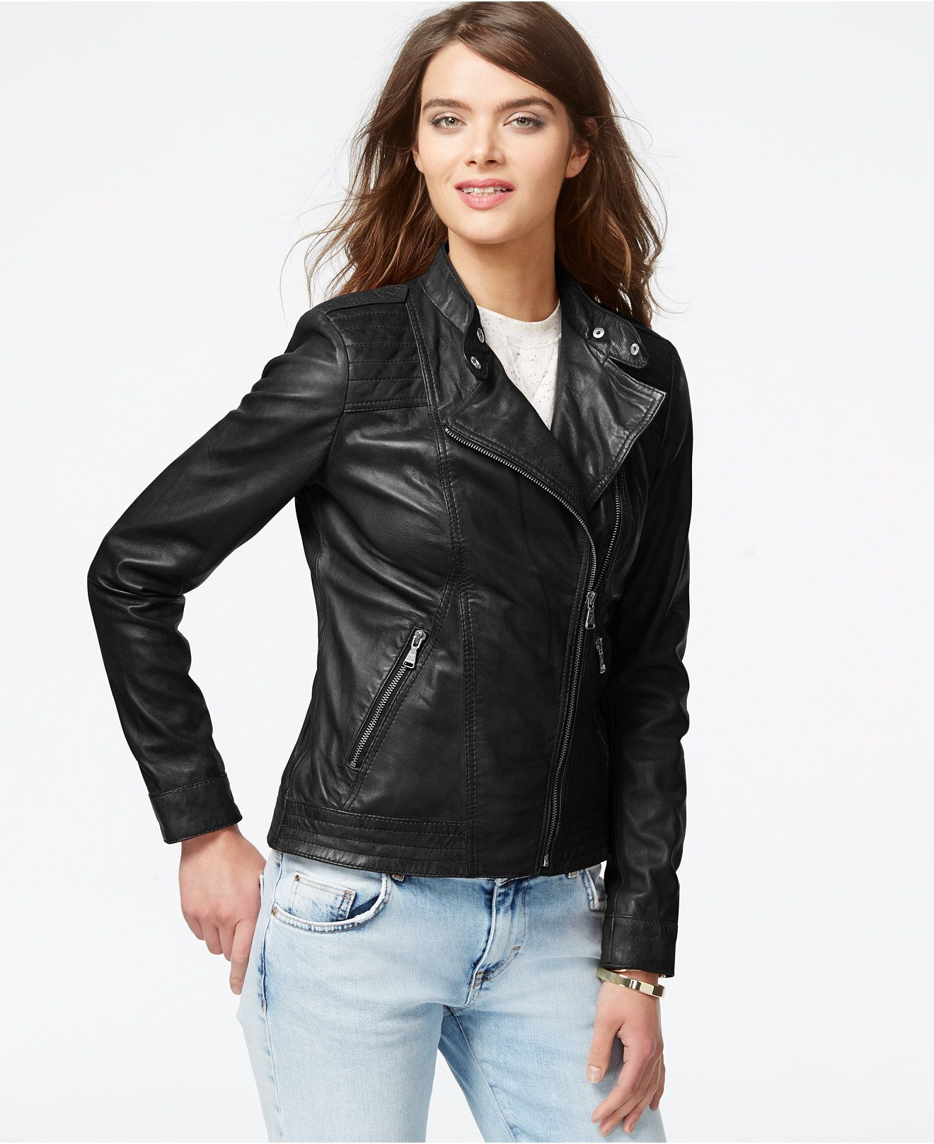 ee180f29fdbe $260 with sale GUESS Asymmetrical Zip-Front Leather Jacket - Jackets &  Blazers - Women - Macy's