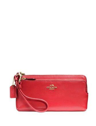 Coach Double L-Zip Wallet Wristlet in Smooth Leather