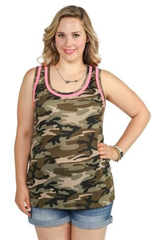 716b1393700 plus size camo print racerback tank top with neon piping at Deb  14.17