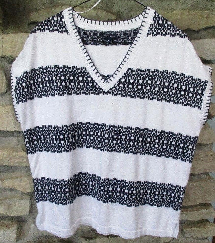 deefcdcdb7d7 Tommy Hilfiger Cotton Knit Vest Top Size L White Navy Blanket Stitch  Sleeveless  TommyHilfiger  KnitTopVest  Casual