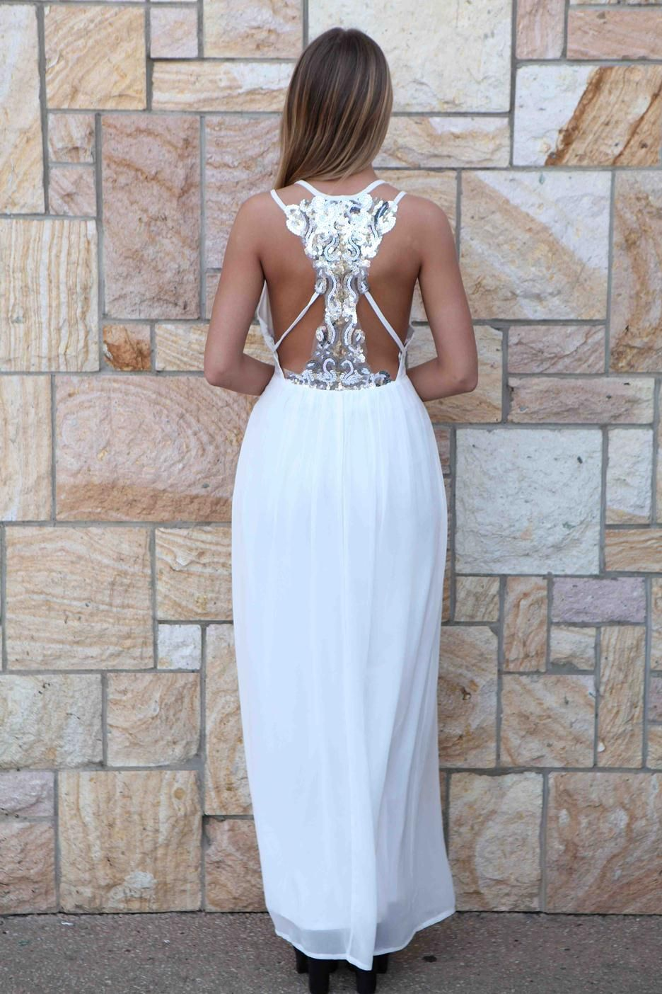 White sequin back maxi dress nye homecoming sequin dresses