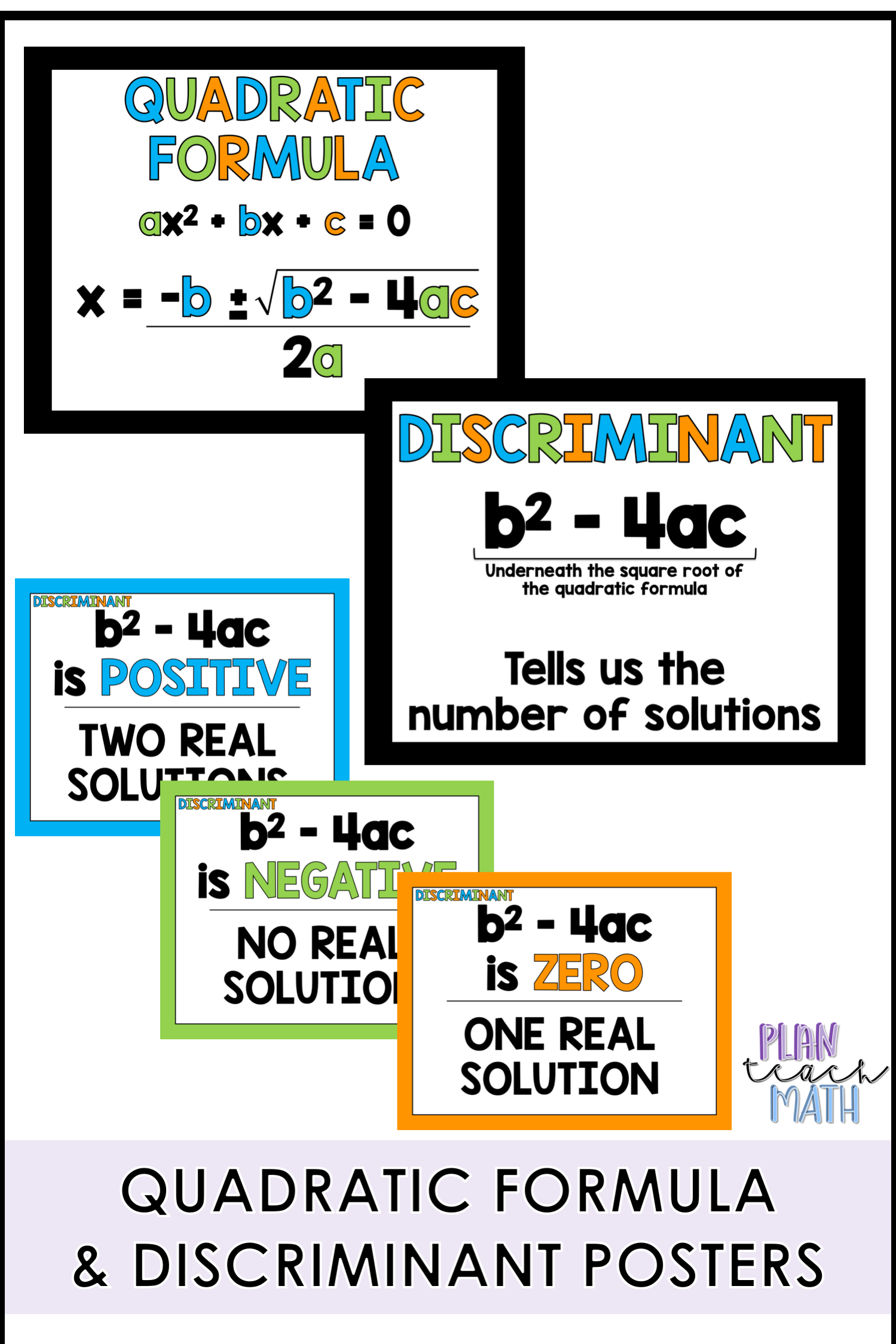 Quadratic Formula And Discriminant Posters Are Great To Hang Up In Your Classroom While Teaching Quadratic Functions Qua Teaching Math Teaching Plan Teaching