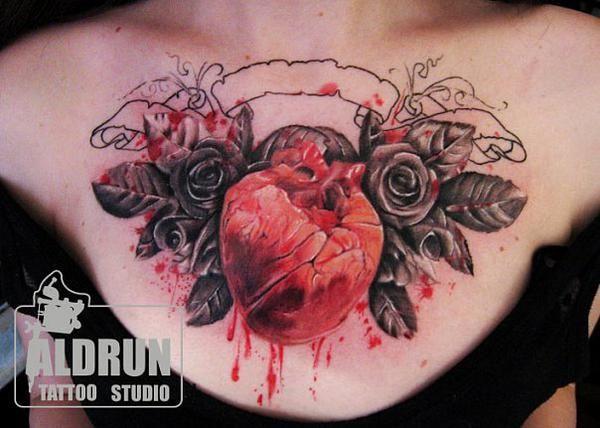 Rose Chest Tattoo, Tattoos, Tattoo Artists