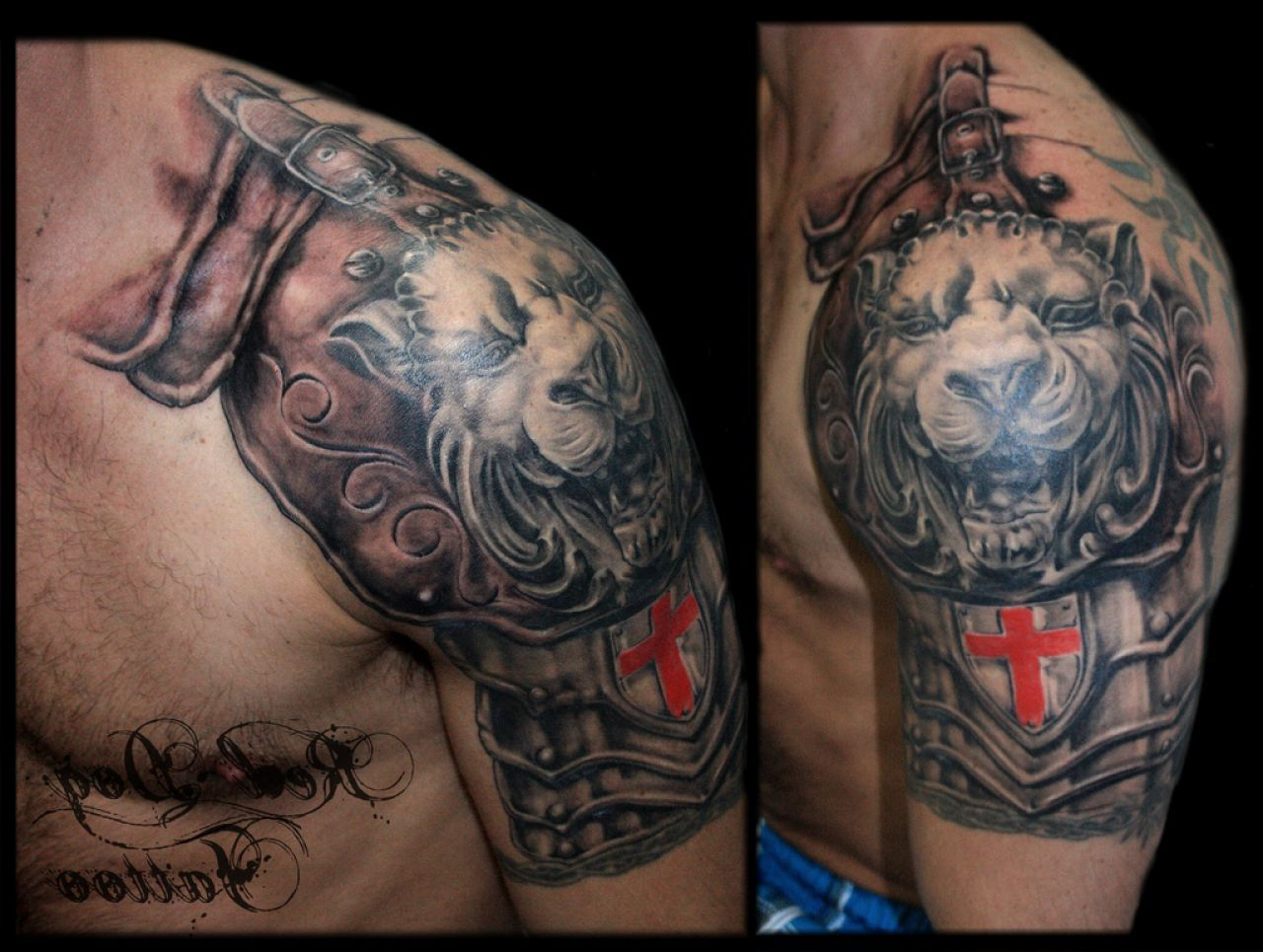 impressive knight armor tattoo on shoulder canvas hide pinterest armor. Black Bedroom Furniture Sets. Home Design Ideas