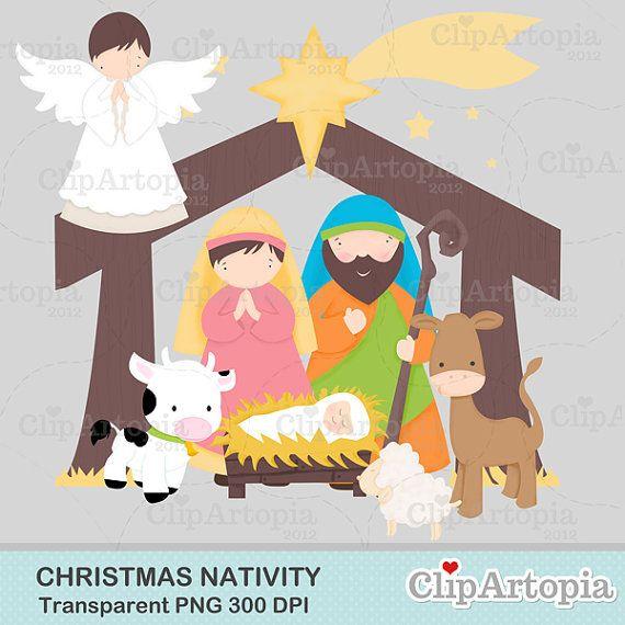 50 Off Sale Christmas Nativity Cute Christmas Digital Clipart For Invitations Card Design Web Design And Scrapb Digital Clip Art Nativity Christmas Nativity