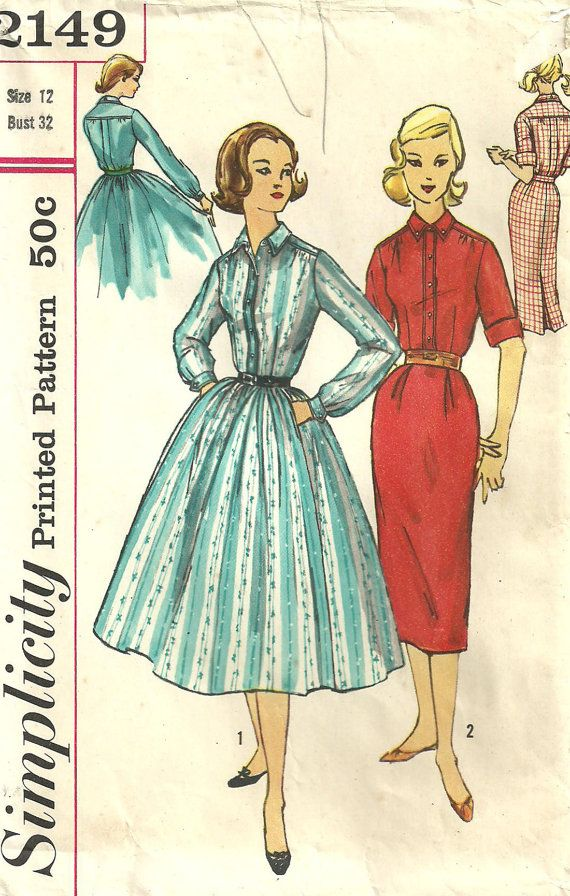 Simplicity 2149 Vintage 50s Sewing Pattern by studioGpatterns