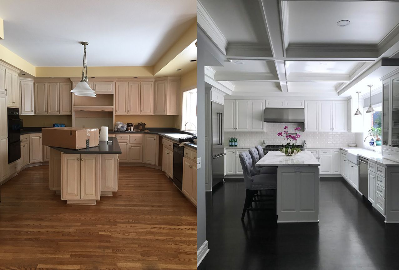 Before After From Pickled Oak To White Cabinets With Dark Wood