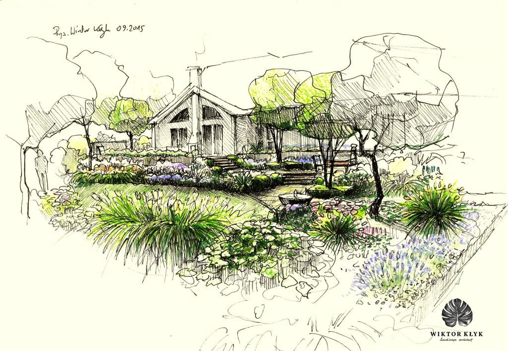 Gryfino ogr d na wzg rzu sketches landscaping and for Garden design sketches