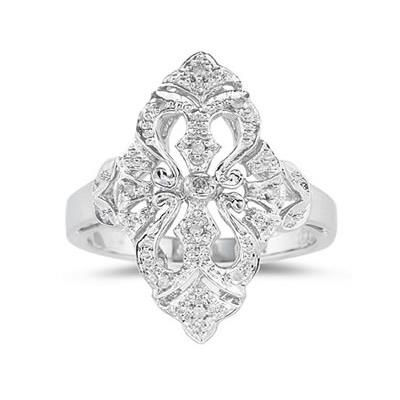 This Flower 10 Karat White Gold Ring Is Set With 11 Twinkling Icy Round Diamonds White Gold Diamond Rings Diamond Fashion Rings Gold Diamond Rings