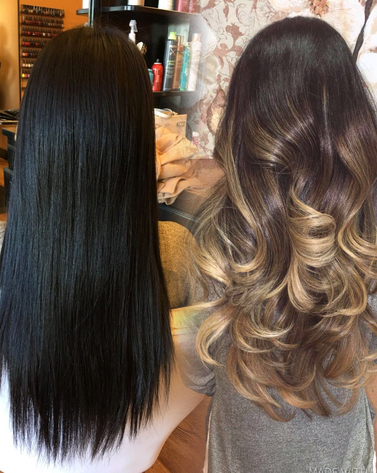 Hair transformation. before and after jetblack hair balayage