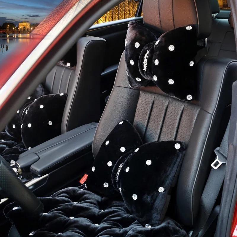 Black Bow Tie Decorative Pillows W Rhinestones Headrest Car