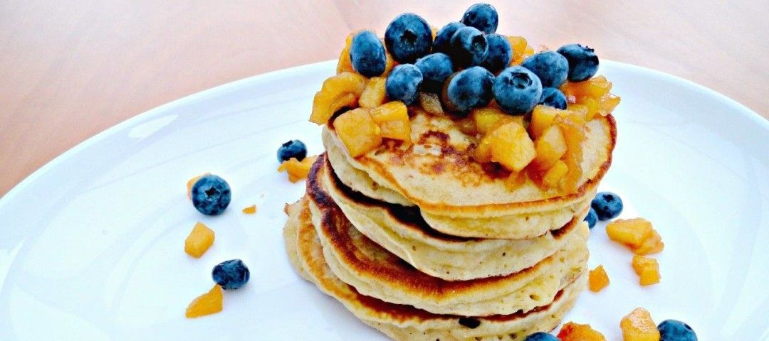 A pancake recipe with caramelised quince and blueberries. Delicious and lactose and dairy free. Perfect Breakfast.