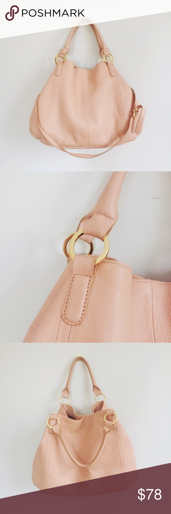 697b2178db Pink Leather Oversized Hobo Tote Crossbody Bag Fabulous pink bag - great  carryall for spring!