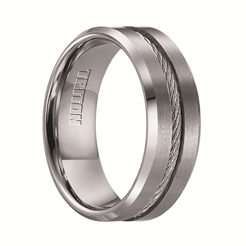 Lannister Men S Tungsten Flat Wedding Band With Steel Wire Cable Inlay Beveled Edges 8mm Three Stone Diamond Rings Engagement Tungsten Wedding Bands Mens Wedding Rings
