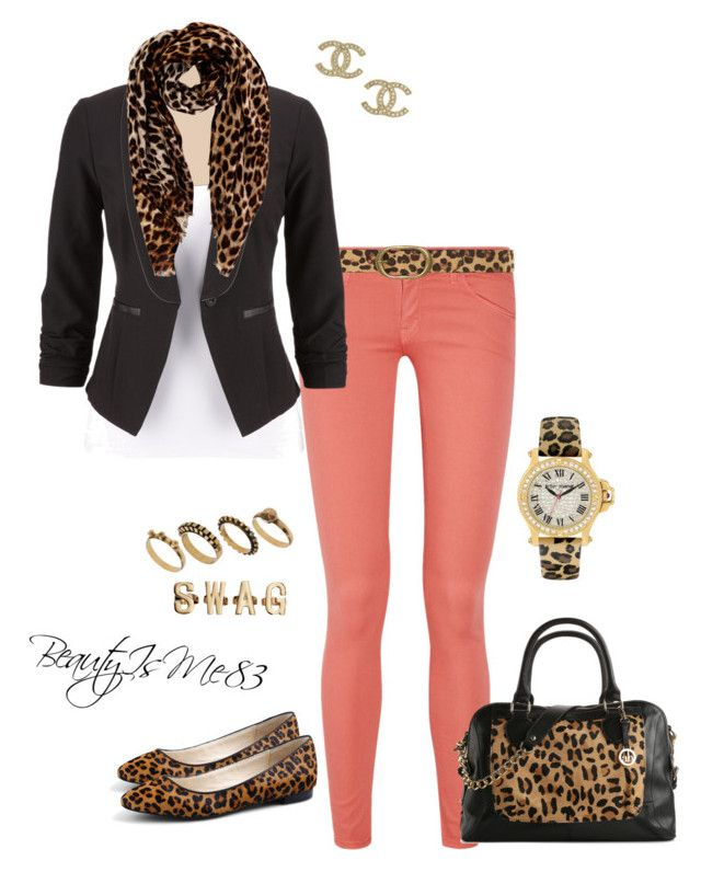 """""""Leopard & Coral Simplicity"""" by beautyisme83 ❤ liked on Polyvore featuring Mother, Dorothy Perkins, Oasis, Betsey Johnson, C. Wonder, Audrey Brooke, DesignSix, Chanel and H&M"""