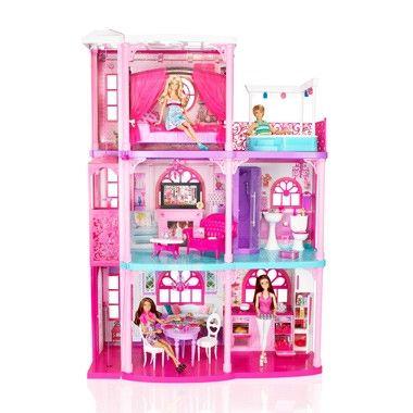 neem barbie mee naar dit prachtige droomhuis met licht en geluid in het huis kun je heerlijk vertoeven want het is helemaal compleet met een huiskamer